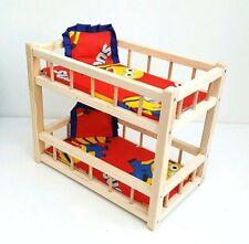 """Jouet en bois lit superposé pour 2 poupées 14 """",préscolaire pour fille jouet ,"""