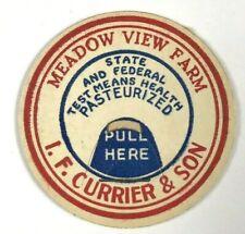 Meadow View Farm Dairy I. F. Currier & Son Vintage Milk Bottle Cap Red Blue