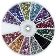 1200 Rhinestone Wheel Diamante Crystal Gems Nail Art Cards 3D Tips Decoration