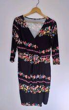 Size 12 Dress Black Floral Embroidery Stitch Print Stretch Bodycon 3/4 Sleeve