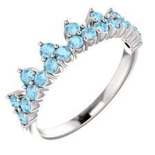 Platinum Aquamarine Crown Ring Size 7