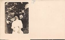 Concord New Hampshire~Pretty Victorian Lady in White~Private Property~1909 RPPC