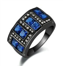 Fashion Mens Size 9 Blue Sapphire Black 18K Gold Filled Engagement Rings Gift