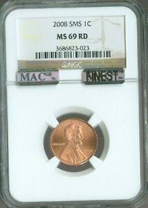 2008 LINCOLN MEMORIAL CENT Penny NGC MS69 SMS RD RED MAC FINEST Quality ✔️