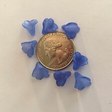 50 Dainty Small Frosted Shades of Ultramarine Blue Trumpet Flower Acrylic Beads