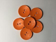 6 Botones de madera naranja brillante. 30mm. dos agujeros. Ideal para coser, álbumes de recortes,