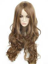 100% Echthaar! NEU Hellbraun Lang Perücke Dame Natürliche Perücken Haarteil Wigs