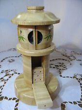 Vintage Wooden Toothpick Tower with Salt and Pepper Shakers