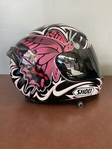 Shoei Woman Motorcycle Helmet size XXS 6 3/8- 6 1/2 Pink -Black Butterfly