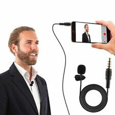 Clip on Lapel Microphone Hands Wired Condenser Mini Lavalier Mic 3.5mm.