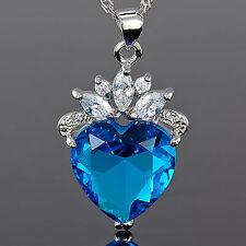 Xmas Lady Fashion Jewelry Heart Cut Blue Aquamarine Topaz Pendant Necklace Chain
