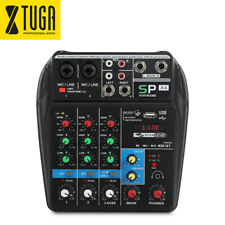 A4 Audio Mixer 4 Channels Sound Mixing Console+ Bluetooth USB Record 48V Phantom