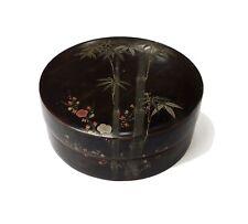 Vintage Oriental Asian Decorative Black Lacquerware Trinket Box Mid-Century 60's