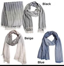 New Men's Ombre Stripes sheer panel Long Scarf Soft Shawl Wrap Pashmina Beige