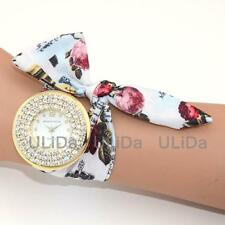 Gift Flowers Ribbon WristBands Fashion Rose Crystal Women Quartz Dress Watches