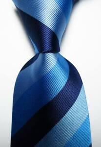 New Classic Striped Light Blue Blue JACQUARD WOVEN 100% Silk Men's Tie Necktie