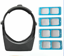 4 Lens Head Band Magnifier Optivisor Eye Loupe Watch Repair Welding Head Visor