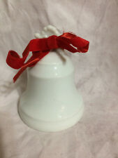 White Ceramic Bell with Red Ribbon