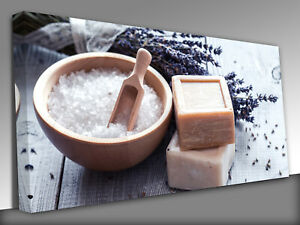 Natural soap, lavender, salt  Panoramic Canvas Wall Art Picture Print