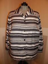PLUS SIZE ALFRED DUNNER BLACK WHITE MULTI STRIPED TEXTURED SHIRT TOP 20W 1X 2X!!