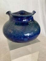 "Ewenny Pottery Mottled Pinch Vase w/ Flare in Blue marked 3.75"" ht  5"" dia"