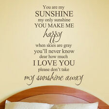 Inspiration Wall Sticker You Are My Sunshine Love Saying Vinyl Bedroom Art Decor