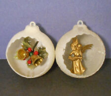 Vtg Diorama Scene Xmas Ornament-mica snow-Snowball cut-out Angel-Christmas Bells