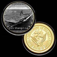 U.S. United States Navy | USS Shangri-La CV-38 | Gold Plated Challenge Coin