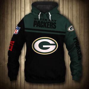 Green Bay Packers Sports Hoodie Men's Pullover Sweatshirt Football Hooded Jacket