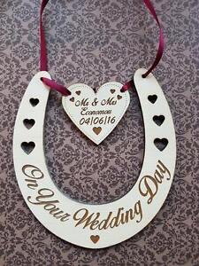 Hand Made personalised engraved horseshoe plaque keep sake gift wedding