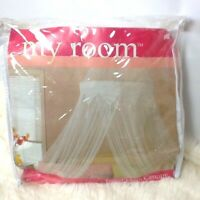 Bed Canopy Tassel Mesh Hanging Dome Library Reading Nook Play Room Net White