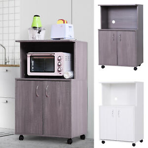 Rolling Kitchen Trolley Microwave Cart 2-Door Cabinet Storage Shelves w/ Wheels