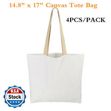 4 Pack 148 X 17 Sublimation Blank White Canvas Tote Bag Shopping Bags Usa