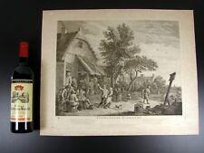Gravure XVIII° Vergé Filigranné GUINGUETTE FLAMANDE par Jacques Philippe Le Bas