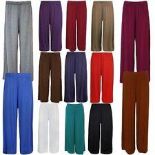 Neu Damen Übergröße Einfarbig Weites Bein Stretch Böden Palazzos 12-30