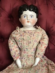 """LARGE ANTIQUE CHINA SHOULDER HEAD DOLL Short HAIRSTYLE LOVELY 24"""" !"""