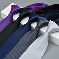 Mens 100% Silk Classic Jacquard Woven Striped Necktie Men's Tie