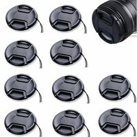 10pcs 43mm Center-Pinch Front Lens Cap + String for Nikon Canon Sony Olympus 10x