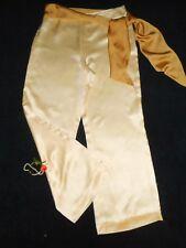 USA 10 100% REAL Silk Pants Ralph Lauren Ivory White Wide Leg Sash Scarf