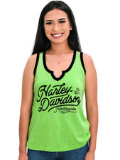Harley-Davidson Ladies Washed Script Notch V-Neck Lime Green Sleeveless Tank Top