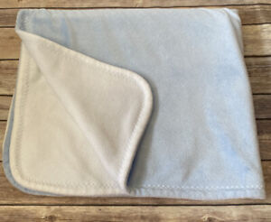 """Blankets & Beyond Baby Blue White Reversible Security Lovey 30x36"""""""