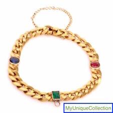 Vintage 18K Solid Gold Synthetic Ruby Sapphire Emerald Link Bracelet