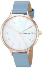 Skagen Ladies 36mm Anita Mother-of-Pearl Blue Leather Watch  SKW2703 NEW!