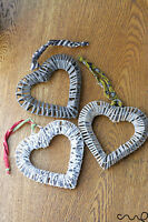 NKUKU Zia Wire Heart Decorations Hanging Ornament Metal Wreath White Grey Cream