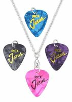 PICK JESUS Interchangeable Guitar Pick Chain Necklace, 4 Pendants Included!