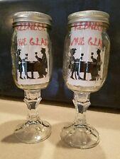 Set of 2 Redneck Rednek Hillbilly Wine Glasses - Clear Ball Mason Jars & Lids