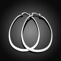 Womens 18K White Gold Plated Elegant Oval Shaped 60mm Large Hoop Earrings #E211