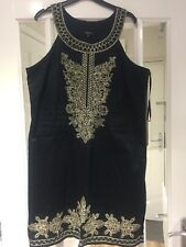 Black Halter Neck Dress With Gold Embroidery Detail, Papaya Size 18, With Lining