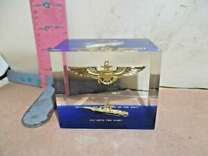 AIRCRAFT CARRIER & NAVY WINGS IN LUCITE - GUEST OF THE SECRETARY OF THE NAVY