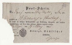 Postschein Bautzen 1845 Kgl. Saxon post Office